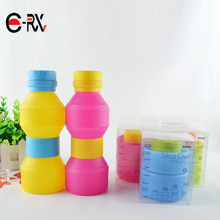 Cheap Plastic Travel Sports Kids School Foldable Rollable Disposable Folding Drinking Bottles Silicone Collapsible Water Bottle