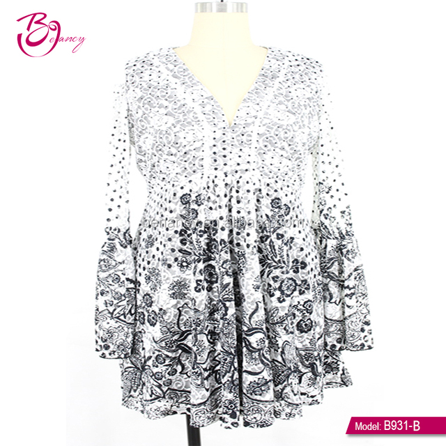 2018 High fashion Boho design Floral printing deep V neck Plus size ropa mujer dress for mature woman