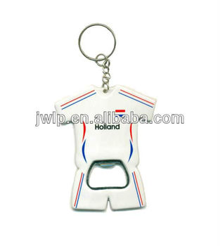 World cup promotion t-shirt shape bottle opener keychain sport jersey keyring bottle opener