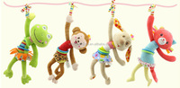 Funny plush toy with musical pull string Stuffed educational Smart ANNEAU Forg Puppy animal Bed vibvating sound toys
