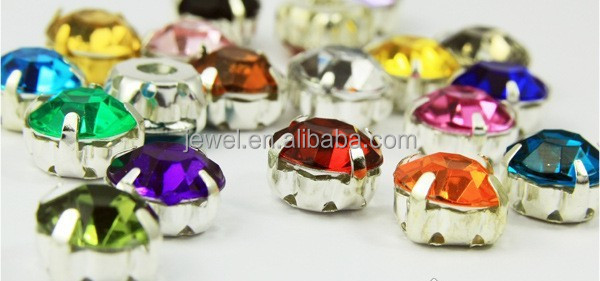 round point back plastic resin jewel emblishment garment sew on metal base acrylic stones rhinestones transparent clear