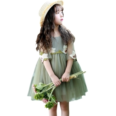 2018 Newly Summer Princess Wedding Bridesmaid Embroidered child flower girl dress for children