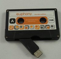 Special Black or white color cassette tape usb flash drive with sticker logo