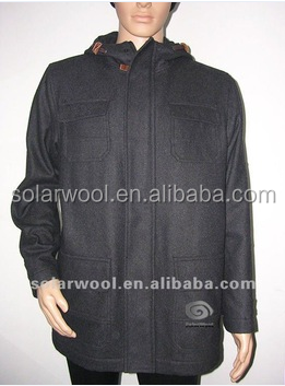 Anti-Satic Eco-Friendly With High Quality Woolen Fashion 2016 Mens Black Coat With Hoody