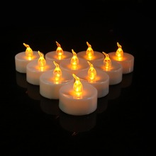 Amber Yellow Flickering LED t light Battery Operated Electric votive candle