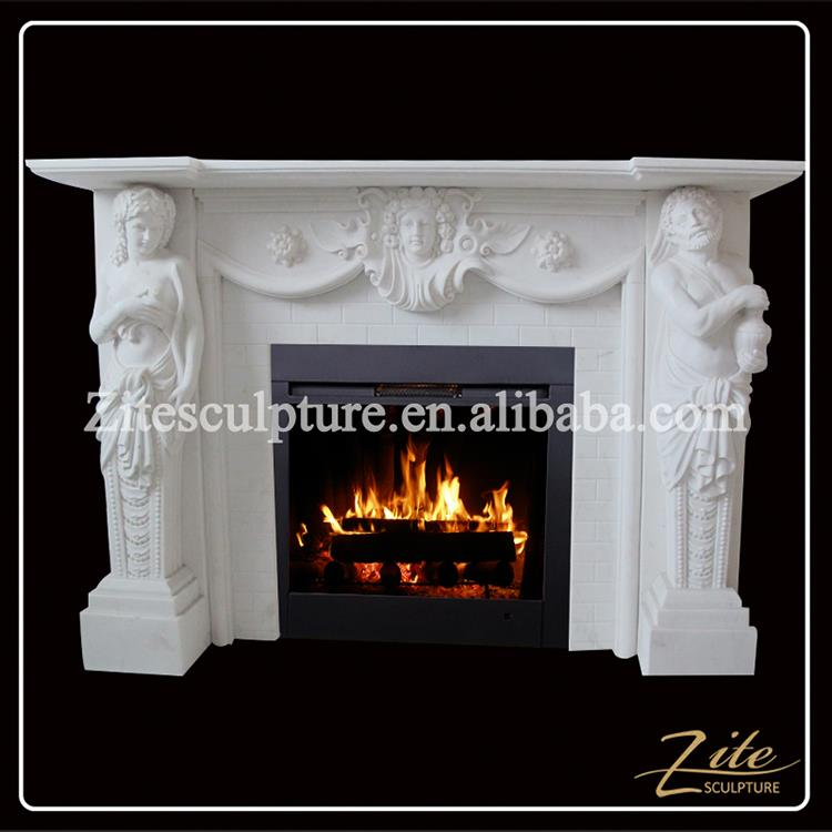 Modern Style Decorative Marble granite marble fireplace mantel surrounds statues