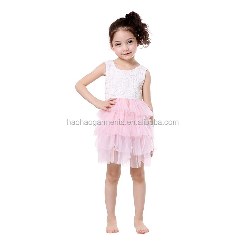 white embroidery tank top pink chiffon ruffle puffy bottom sleeveless children boutique dress