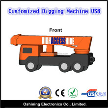 Factory Direct Sell Special Rubber Custom 3D USB Flash Drive (Digging Machine Design)