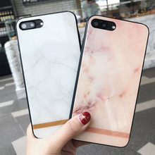 J-Korea mirror marble phone case for iphone x/6s painting tempered glass case for iphone 7/8plus,armoued glass soft shell cover
