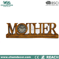 MDF ManteL table clock,Monther word shape wooden luxury clock for home decor