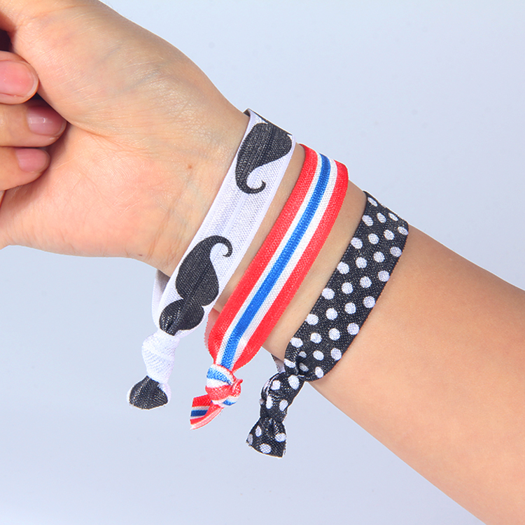 Custom wholesale fabric elastic hair bands with printing