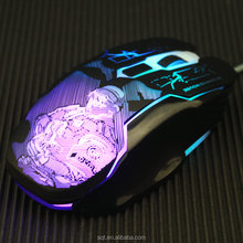 Barato wired 6D optical gaming mouse com 2400 DPI e 7 cores de led backlight
