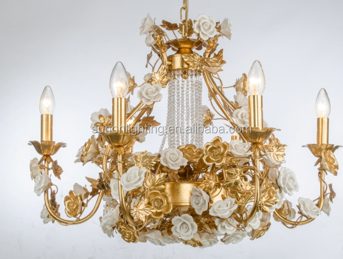 China top sale luxury whith ceramic flower golden foiled crystal chandelier