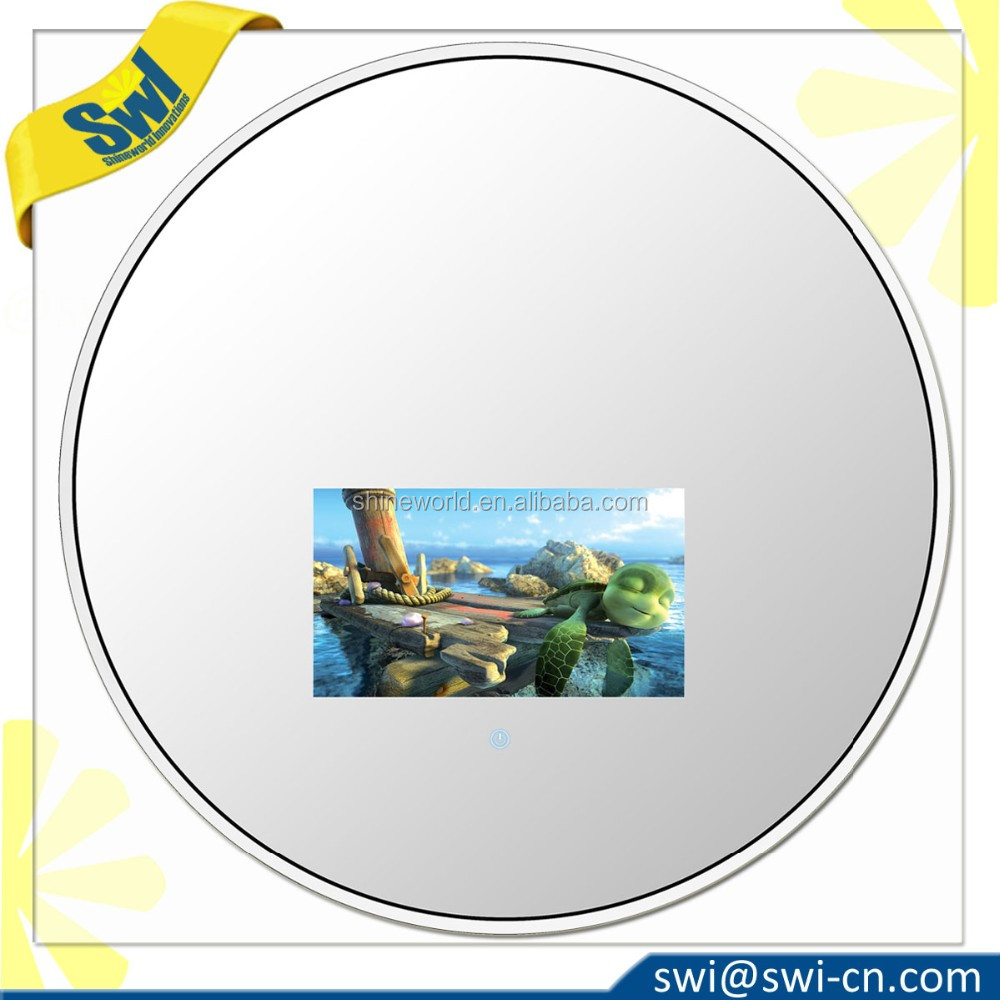 27inch Round Vanishing Entertainment TV Mirror and Indoor Waterproof Magic Mirror TV with White Acrylic Solid Frame
