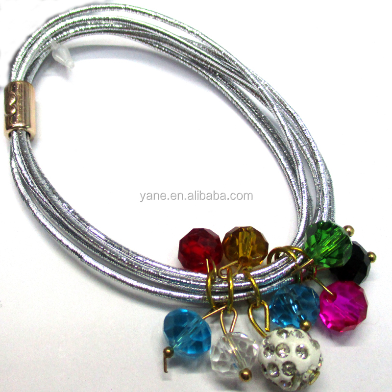 Fancy decorative silver elastic hair ties with crystal