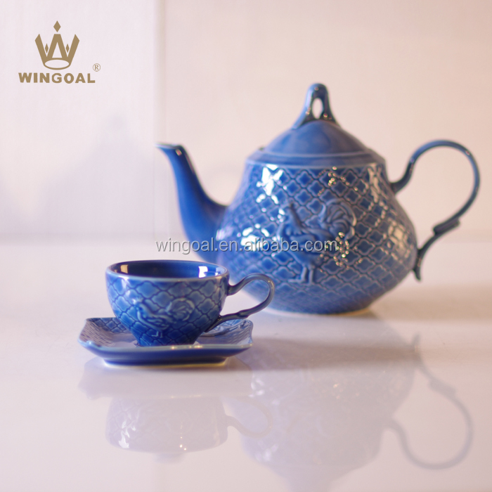 800ml Ceramic embossed tea pot set cup and saucer