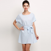 Women Short Sleeve O Neck Casual Mini Shift Dress With Tie Belt