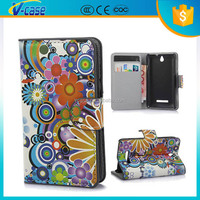 Flip colorful flowers wallet leather case for sony xperia e dual c1605