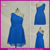 SW77 one shoulder pleated bodice short chiffon skirt cheap royal blue bridesmaid dress