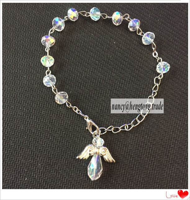 6mm Imitation Zircon Bead Bracelet Angel Glass Bead Bracelet Shiny Crystal Bracelet
