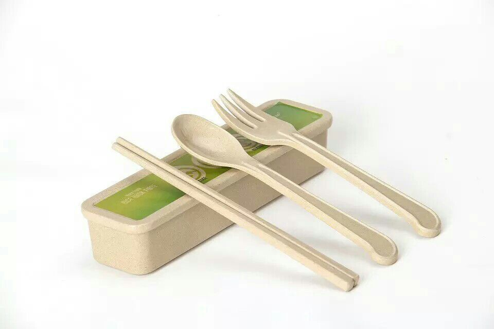 Husk'sWare Portable Dinnerware Eco-Friendly Rice Husk Fiber Tableware Travel Kids Adult Cutlery with chopsticks Spoon Fork