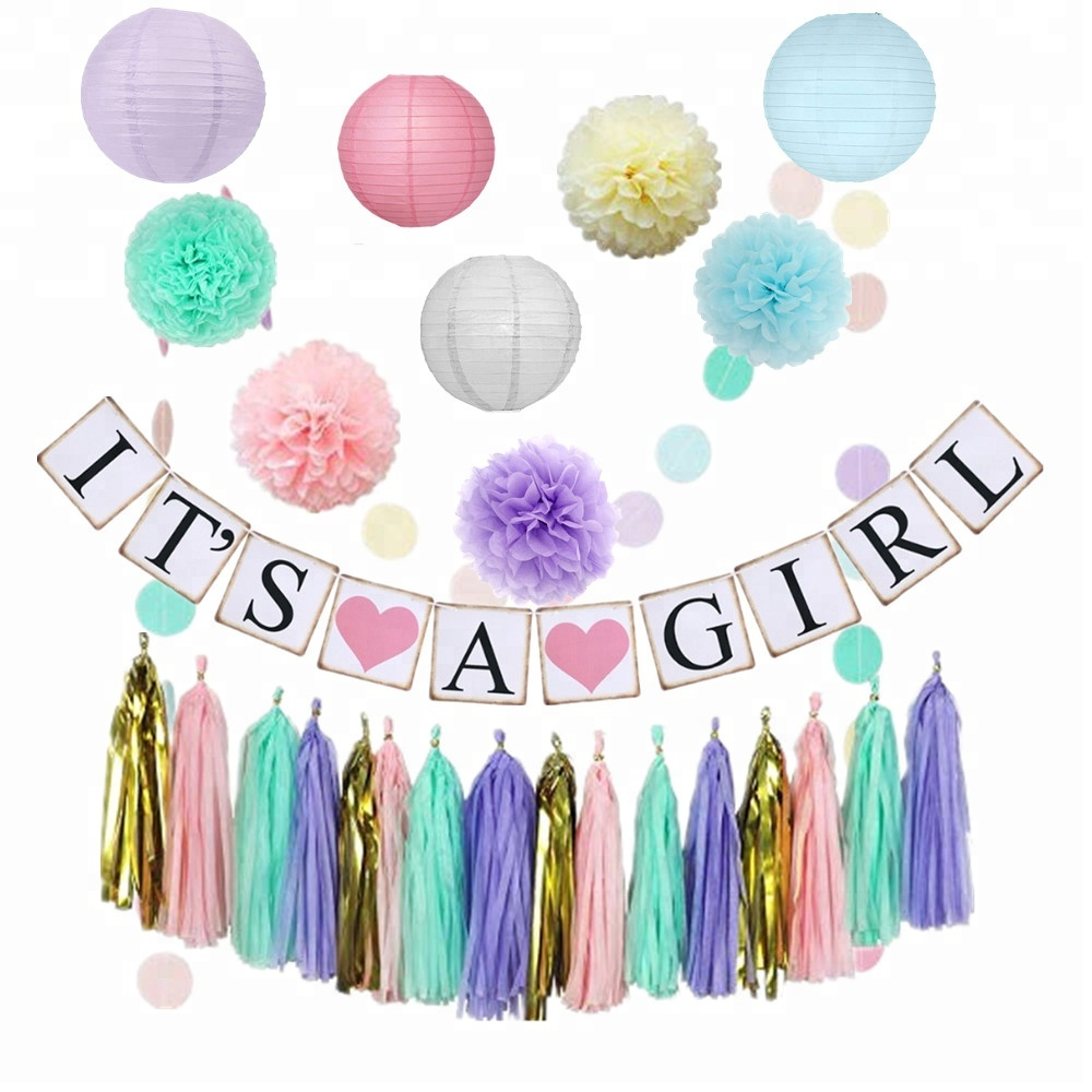 2019 new party favor it's a girl banners and paper latern paper flower pom poms garland string for baby shower <strong>decorations</strong>