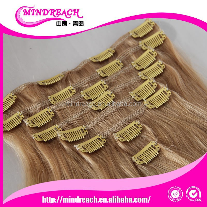 Honey blonde #27 color clip ins extensions 100 grams 8 pieces natural straight with professional crafts best price
