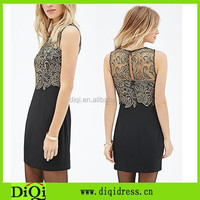 Sublimation ladies slim fit column dress pattern crochet lace overlay gold black crochet lace combo dress