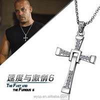 Film Zircon Fine 18k gold Plated Fast and Furious Dominic Toretto Cross Pendant Necklace CZ Diamond Christian Religious Jewelry