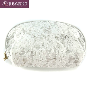 White lace and pvc bag ziplock cosmetic pouch
