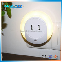 Sensor day night light switch USB charger