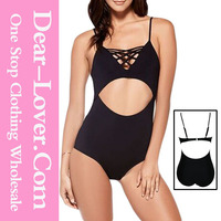 black small sexi girls Black Lattice V Neck Cut Out One Piece Swimsuit