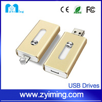 Zyiming usb drive factory wholesale 8/16/32/64gb otg usb flash drive for iphone with free laser logo