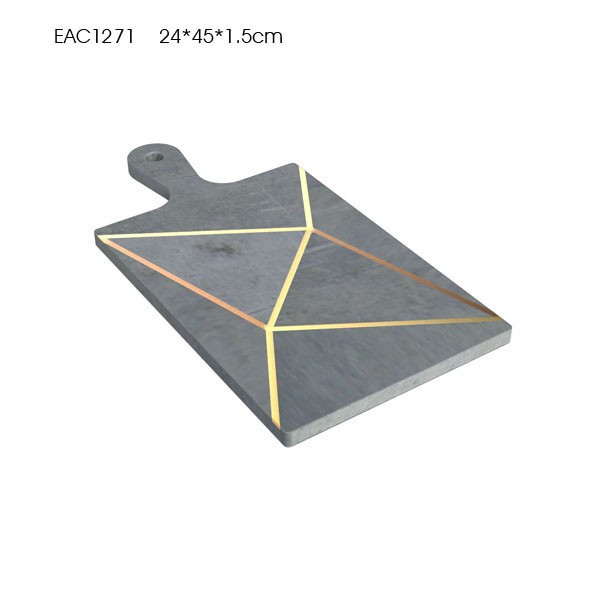 Gold line decorative Black marble cutting board set