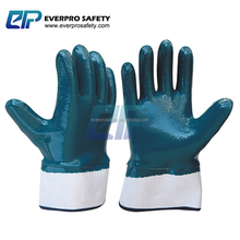 Oil and Gas Resistant Safety Cuff Heavy Duty Blue Nitrile Coated Cotton Jersey Gloves With Jersey Liner