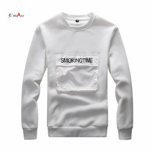 Fashion Man Black White Casual Pullover Blank Hoodies