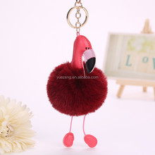 China supplier dust plugs for mobile phone fur ball keychain fur pom pom key chain