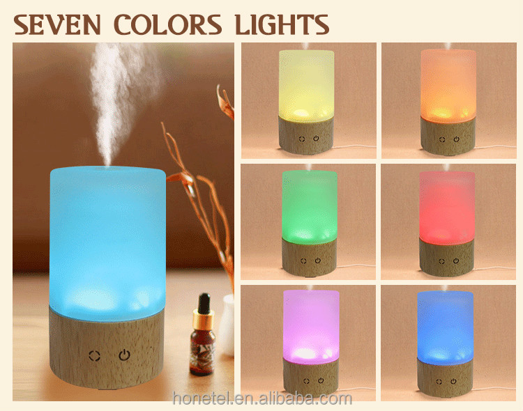 Mini Factory supply Wholesale 85ml wooden Personal Touch button glass7 Colors Light Portable Ultrasonic aroma diffuser