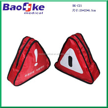 China car care emergency kit with first aid supplies, triangular shape