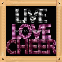Factory price Cheer dance Motif iron on Hot Fix Rhinestone Transfer design for shirt appliques