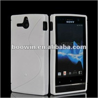 white S-line Gel silicon Case Rubber Skin Tpu Cover for sony ST25i Xperia U