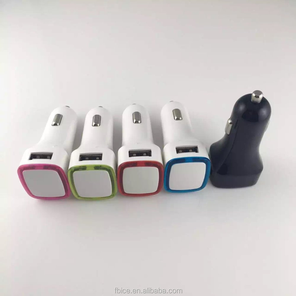 Square halo car charge 5V 2.1A Dual USB Car Charger with Led Logo Light