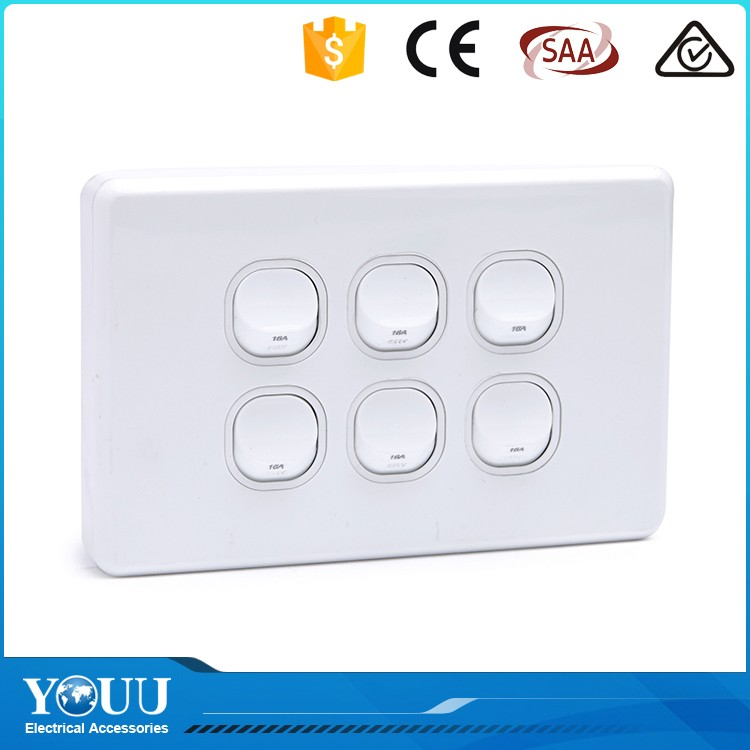 YOUU Best Selling Hot Chinese Products SAA Six Gang Electrical Brand Wall Switches