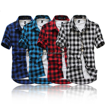 New Hot sale men's Fashion Short-Sleeve Plaid Shirts Male Slim Casual Summer Spring High Quality Comfort Brand Check Shirts