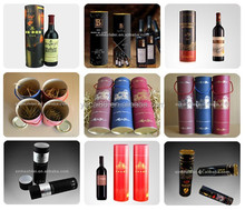 Accept Customized Paper Printing Packing Wine box &round tube/ Met lid