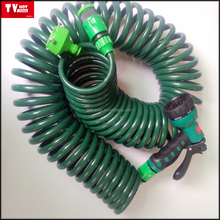EVA garden spring water hose Coil Hose with 7-Pattern Turret Nozzle