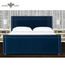 American style bedroon furniture fabric nail trimed luxury headboard set bed/king size wooden upholstery bed