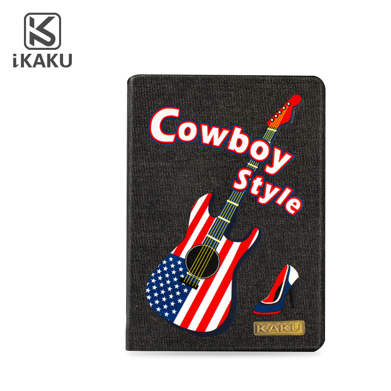 2017 guitar new design tablet PU leather flip case jeans for iPad air hard PC printed cover case