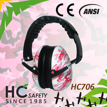 HC706 ANSI CE AS NZS class 5 new products pink camo baby ear hearing protector folding safety ear muffs for sleeping