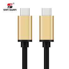 Gold metal housing fast charging usb type c to c cable for mobile phone
